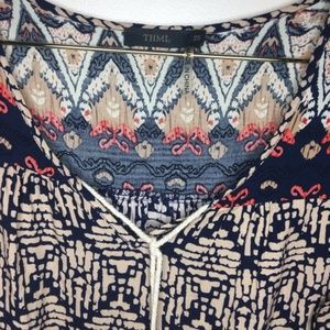 THML Tops - THML Tunic Dress Gray White Blue Red Size XS